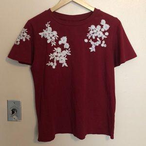 Red Floral Detail Loose Sleeve Top